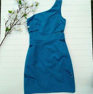 Hailey Logan Blue One Shoulder Sheath Mesh Cutouts